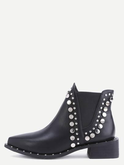 Botines de tobillo de cuero con puntera punta elástico - negro