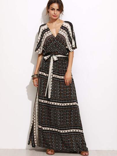 Tribal Print Self Tie Maxi Dress