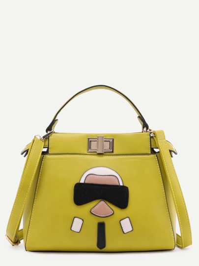 Yellow Cartoon Patch PU Handbag With Strap