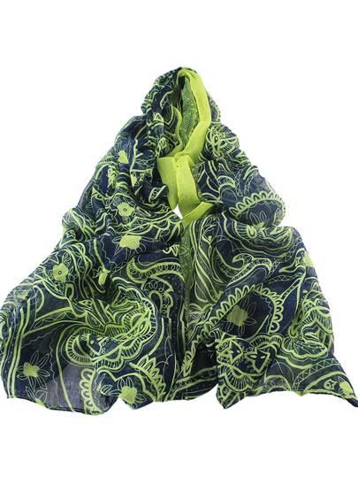 Тёмно-синий длинный шифоновый шарф с цветочным принтом