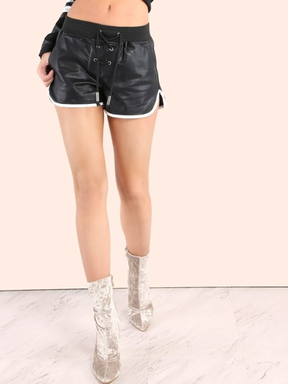 Faux Leather Lace Up Dolphin Shorts