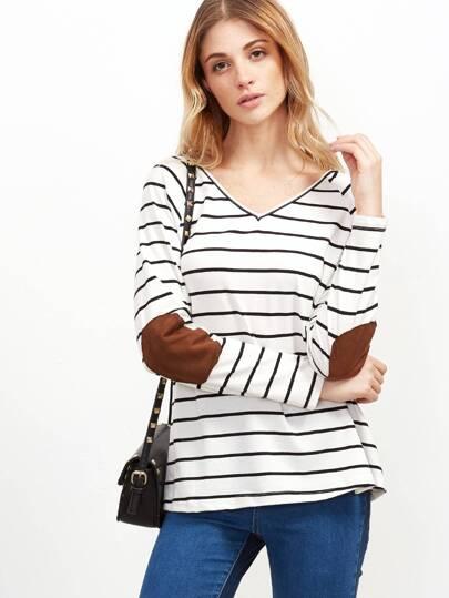 T-shirt mit Elbow Patch gestreifte Doppelt V-Ausschnitt-weiß