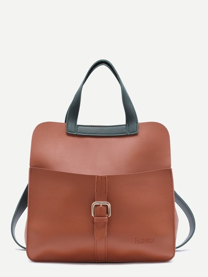 Brown Faux Leather Buckled Strap Backpack