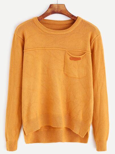 Khaki Slit Side High Low Pocket Sweater