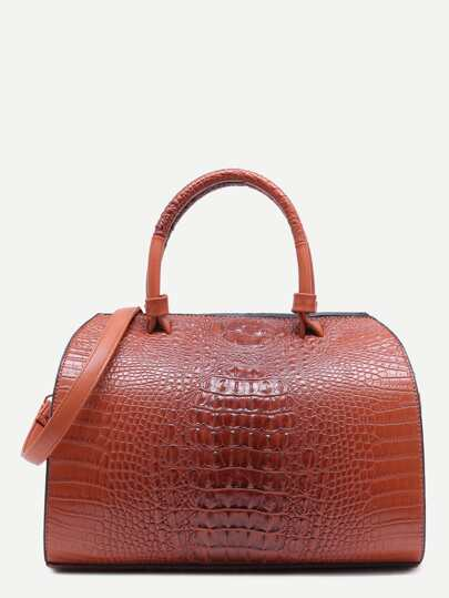 Brown Croc Embossed Leather Front Zipper Bowling Bag