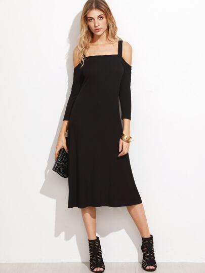 Black Cold Shoulder Ribbed Midi Dress