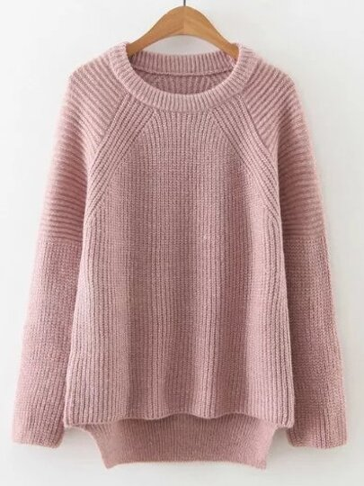 Pink Raglan Sleeve High Low Sweater
