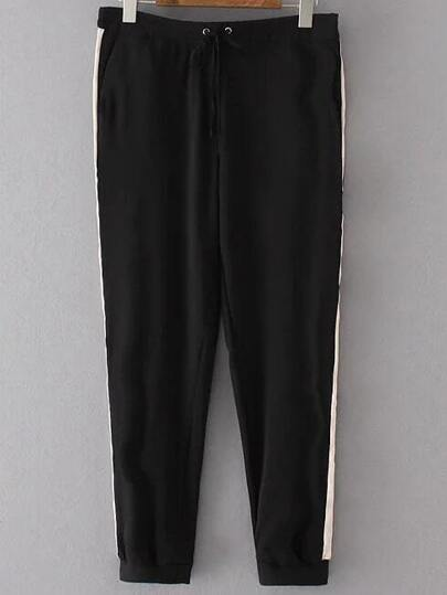 Black Color Block Drawstring Waist Pants