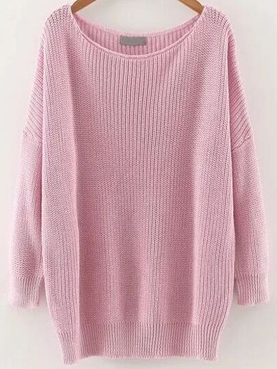 Pink Round Neck Drop Shoulder Knitwear
