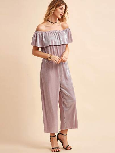 Pink Ruffle Off The Shoulder Wide Leg Pleated Blouson Jumpsuit