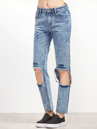 Blue Acid Washed Distressed Embroidered Jeans
