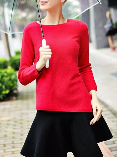 Red Crew Neck Asymmetric Slim Sweater