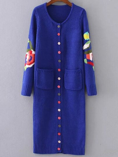 Blue Floral Pattern Button Up Long Sweater Coat