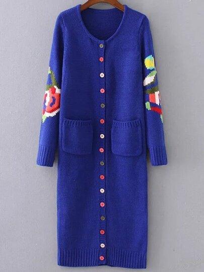 Veste pull longue motif floral avez bouton - bleu