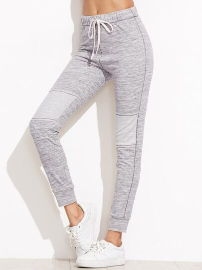 Heather Grey Drawstring Waist Skinny Sweatpants
