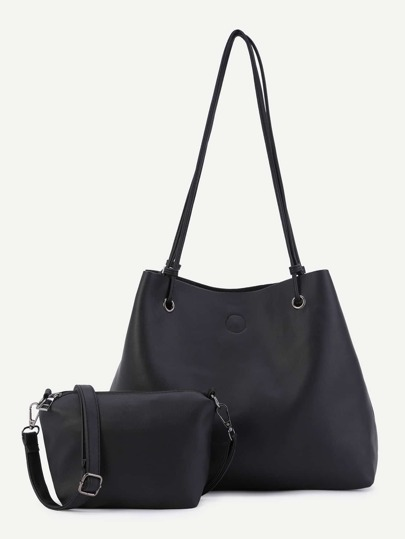 Black Faux Leather Shoulder Bag With Crossbody