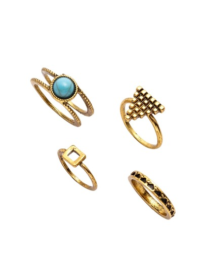 Gold Turquoise Inlay Etched Ring Set 4PCS