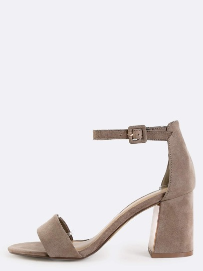 Open Toe Ankle Strap Heels TAUPE