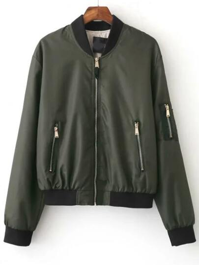 Dark Green Zipper Up Bomber Jacket