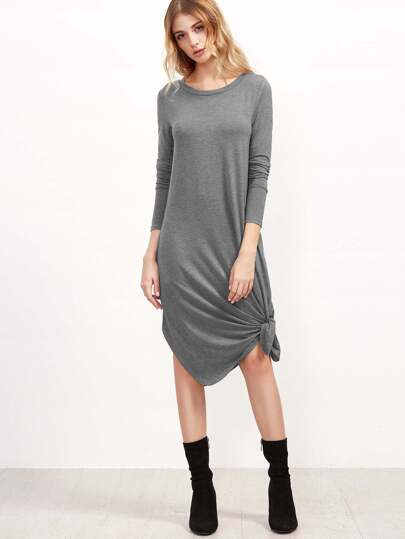Heather Grey Knotted Hem Tee Dress