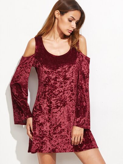 Burgundy Cold Shoulder Bell Sleeve Velvet Dress