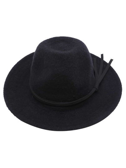 Black Faux Leather Band Knit Fedora Hat