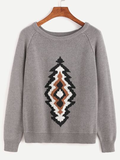 Grey Raglan Sleeve Graphic Sweater