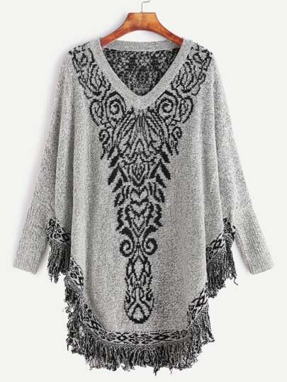 Grey Dolman Sleeve Fringe Hem Poncho Sweater