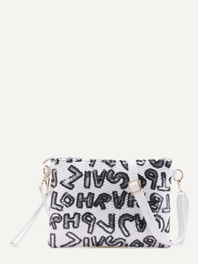 White Letters Sequins PU Crossbody Bag