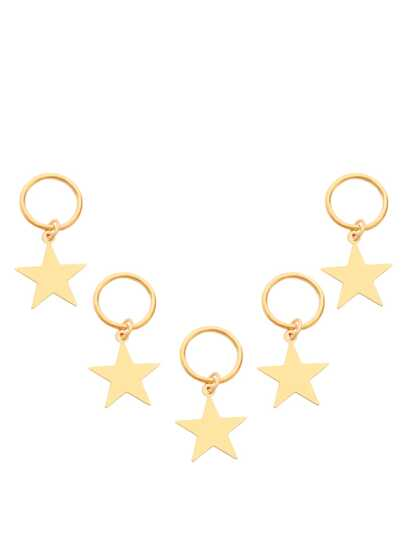 5PCS Gold Plated Star Hair Accessories