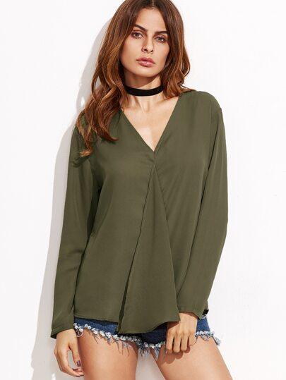 Bluse V-Ausschnitt-armee grün