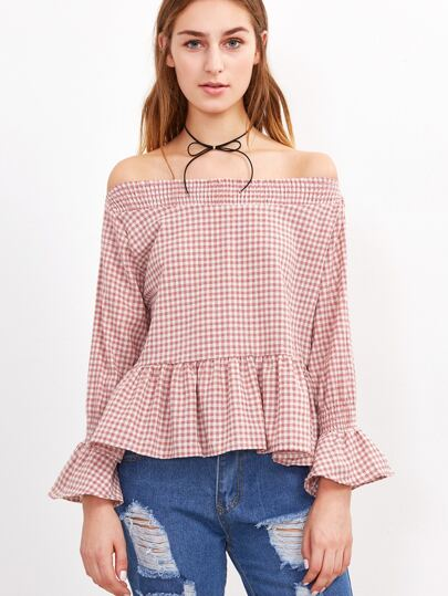 Gingham Plaid Off The Shoulder Ruffle Top