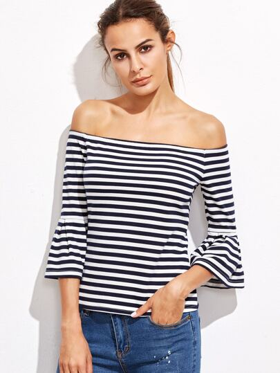 Contrast Striped Off The Shoulder Bell Cuff T-shirt