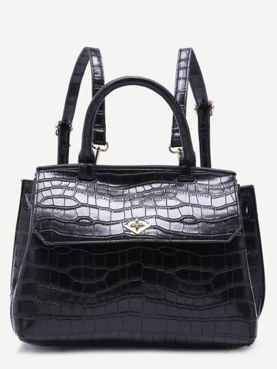 Black Croc Embossed PU Flap Backpack With Handle