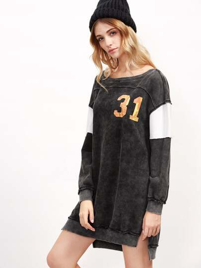 Black Distressed Denim Look Varsity Sweatshirt Dress
