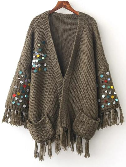 Army Green Sequin Fringe Trim Sweater Coat With Pocket