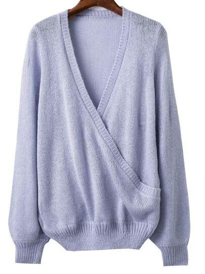 Blue Ribbed Trim V Neck Wrap Sweater