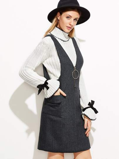 V Neck Zipper Trim Pinafore Dress With Pockets