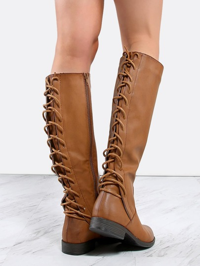 Fully Laced Knee High Boots CHESTNUT