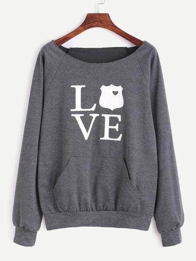 Grey Letter Print Raglan Sleeve Sweatshirt