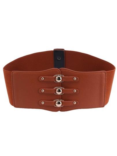 Camel Faux Leather Wide Button Waist Belt