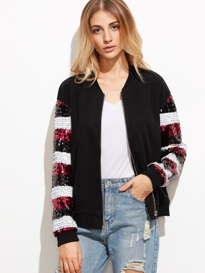 Color Block Sequin Sleeve Zip Up Bomber Jacket