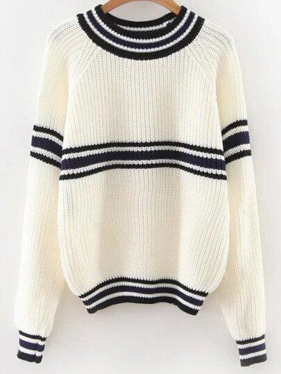 White Striped Raglan Sleeve Sweater