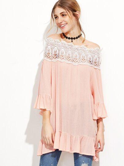 Pink Contrast Crochet Trim Off The Shoulder Ruffle Top