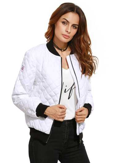 White Contrast Trim Quilted Bomber Jacket With Letter Patch