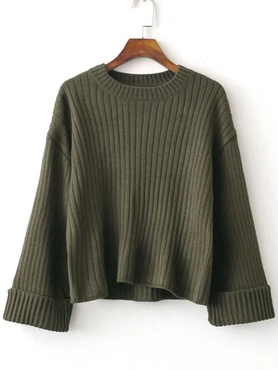 Dark Green Ribbed Rolled Cuff Sweater