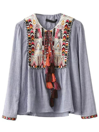Blue Vertical Striped Embroidery Tie Blouse