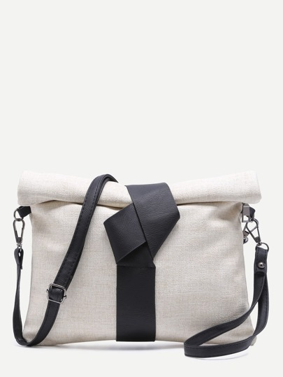 Beige Roll Top Linen Texture PU Leather Clutch Bag With Strap
