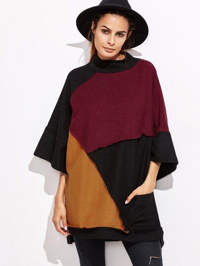 Color Block Kimono Sleeve High Low Sweatshirt