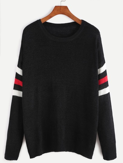 Black Striped Sleeve Pullover Sweater